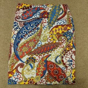 Talbots Paisley Red/Blue/Yellow Pencil Skirt
